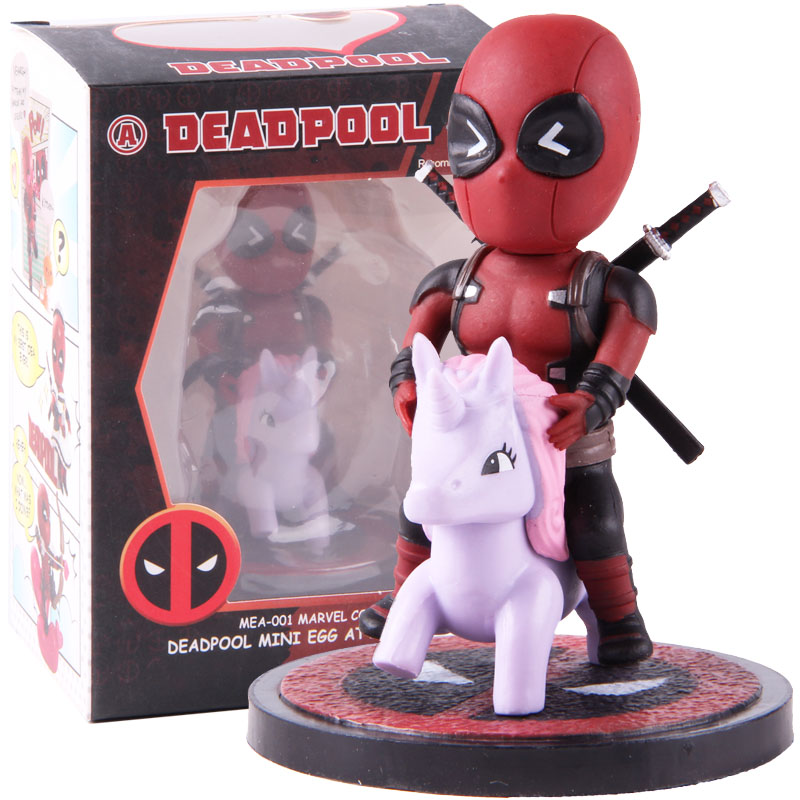 Marvel Comics Deadpool Mini Egg Attack Series Riding Horse Q Version PVC Dead Pool Action Figure Collectible Model Toy Dolls image