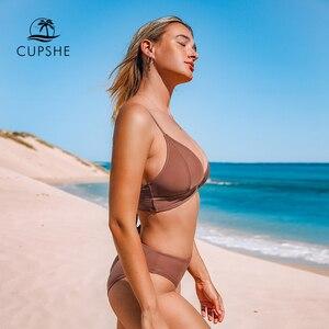 Image 5 - CUPSHE Nâu Cột Dây Bikini Bộ Nữ Tam Giác Giữa Eo Hai Miếng Đồ Bơi 2020 Cô Gái Đồng Bằng Biển Áo Tắm đồ Bơi