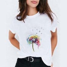 T-shirts para mulher dandelion dos desenhos animados verão outono 90s womens gráfico topos senhora impressa senhora harajuku t camisa feminina