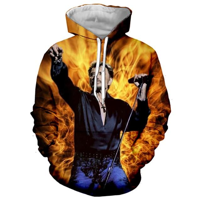 Johnny Hallyday Hoodies France Rock Singer 3D Printed Sweatshirt Men Women Casual Fashion Hoodie Oversized Hip Hop Pullover Coat 6