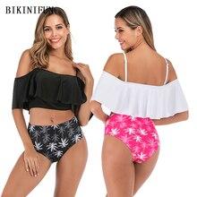 New Sexy Coconut Tree Print Bikini Women Swimsuit Lotus Bathing Suit S-XL Girl High Waist Swimwear Backless Padded Bikini Set crossover palm tree print cami bikini set