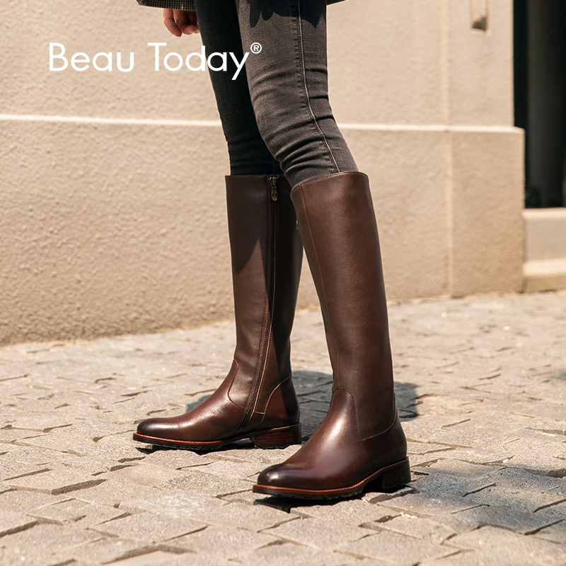 BeauToday Knee High Boots Women Genuine Cow  Leather Side Zipper Round Toe Lady Winter Fashion Long Boots Handmade 01214