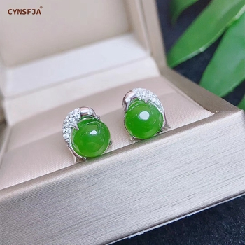 CYNSFJA Real Certified Natural Hetian Jade Jasper 925 Sterling Silver Lucky Amulets Green Jade Earrings High Quality Best Gifts