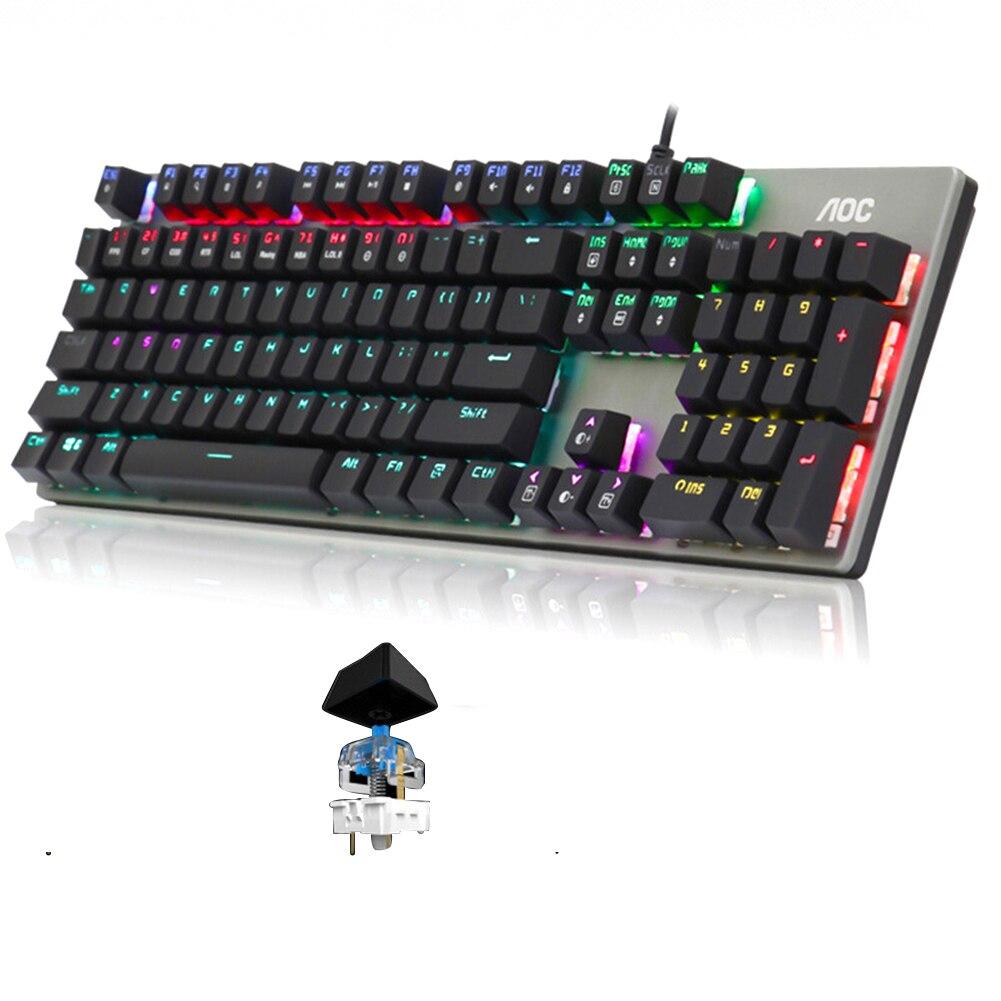 104 tasti per Desktop USB accessori per Computer gioco universale resistenza all'usura meccanica tastiera ergonomica cablata retroilluminazione RGB