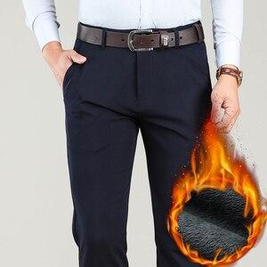 Image 2 - גדול גודל 40 42 44 חורף גברים חם מכנסי קזואל עסקי אופנה קלאסי סגנון לעבות למתוח מכנסיים זכר מותג אפור חאקי