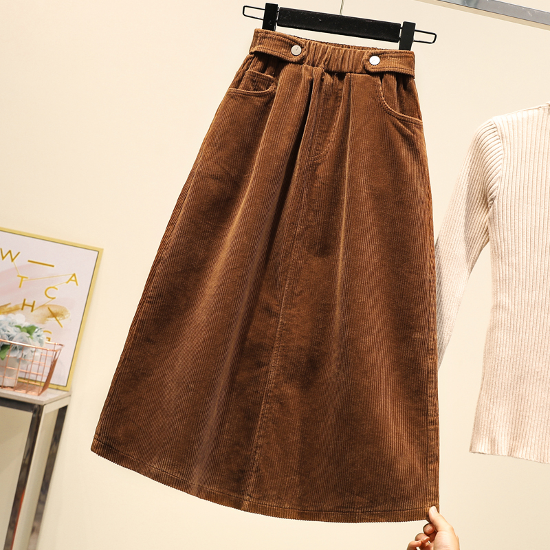 Image 3 - Lucyever Plus Size Women Corduroy Skirt Autumn Winter Vintage Harajuku Loose A line Female Long Skirt High Waist Lady Faldas 5xl-in Skirts from Women's Clothing