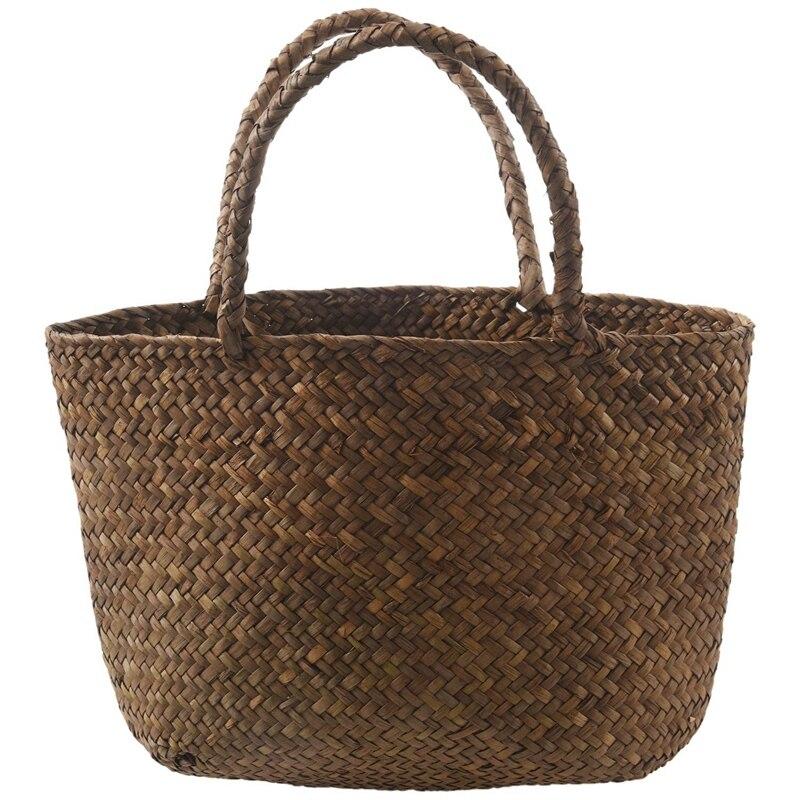 ABZC-Casual Straw Bag Natural Wicker Tote Bags Women Braided Handbag For Garden Handmade Mini Woven Rattan Bags