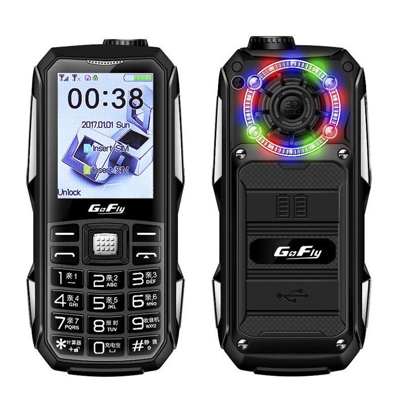 Batería portátil de 6800mAh con LED de Color, móvil GSM, linterna de Voz Mágica, radio FM con dial de velocidad, móvil con teclado económico ruso