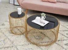 Кофейный столик в скандинавском стиле черный круглый журнальный