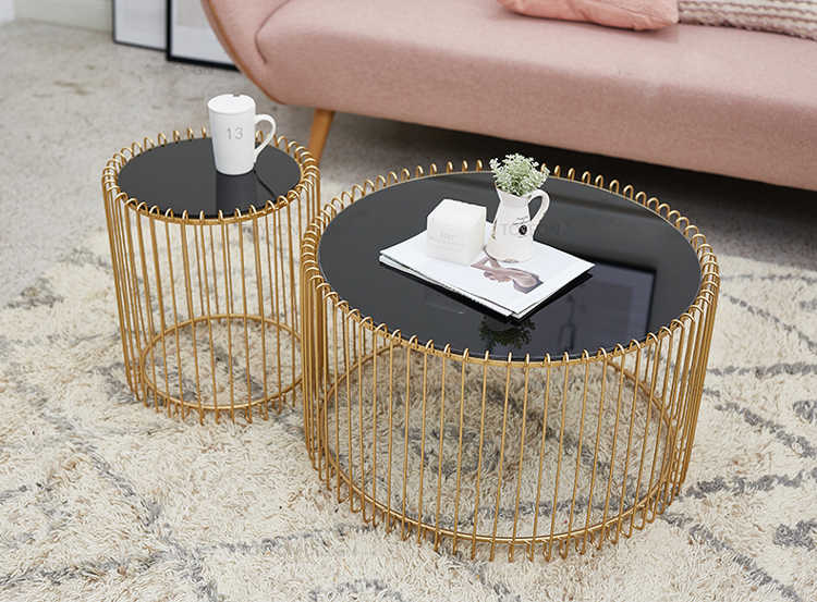Nordic Coffee Table Black Tempered Glass Round Living Room Creative Luxury Rose Golden Iron Side Table Small Large Size Café Tables Aliexpress