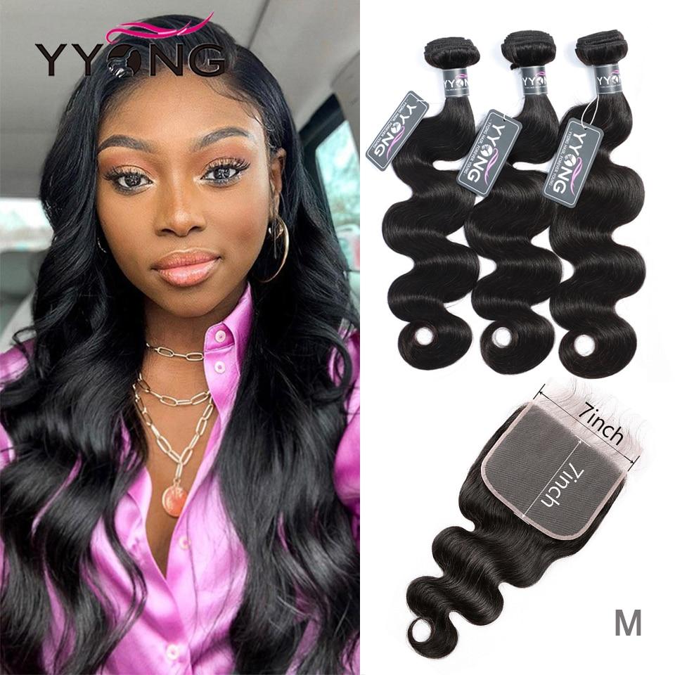 YYONG Hair Body Wave Bundles With 7x7 Closure Brazilian Hair Weave Bundles With Closure Human Hair Bundles With Closure Remy