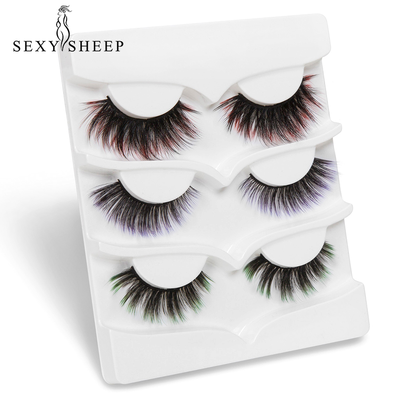 SEXYSHEEP 3Pairs Colorful 3D Natural Faux Mink Eyelashes Long Thick Lash Fluffy False Eyelash Extension Makeup False Eyelashes