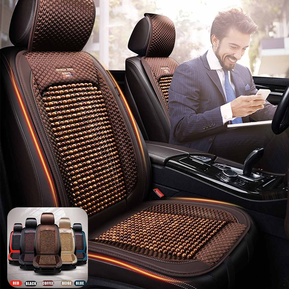 Universal Summer Cooling Auto Front Seat Cushion Protector Beads Leather + Bamboo Car Seat Covers Breathable