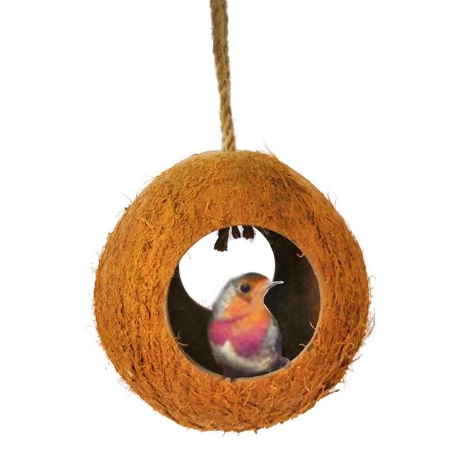Parrot Nest Natural Coconut Shell House 2 Way Tunnel Nest Parrot Bite Resistant Perch Hideout Cave Pet Bird Hanging Nest.x x