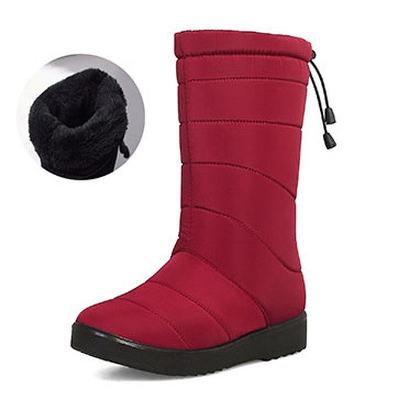Winter Women's Fringed Suede Mid-leg Wedge Warmth Waterproof Non-slip Women Winter Boots Knee High Boot Women Hx-615-5