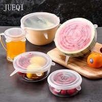 6 unids/set cubierta Universal de silicona para mantener fresco tapas elásticas de silicona tapas para utensilios de cocina