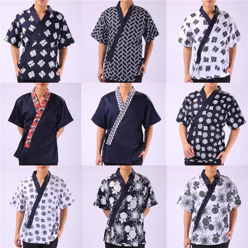 Men Women Restaurant Sushi Chef Work Uniform Food Service Print Kimono Robe Japanese Style Kitchen Cook Jackets Yukata Coat Tops