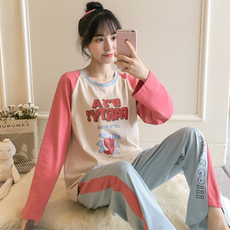 Pajamas Women's Spring And Autumn Pure Cotton Long Sleeve Cute Sesame Street Two-Piece Set Korean-style Students Large Size Wint