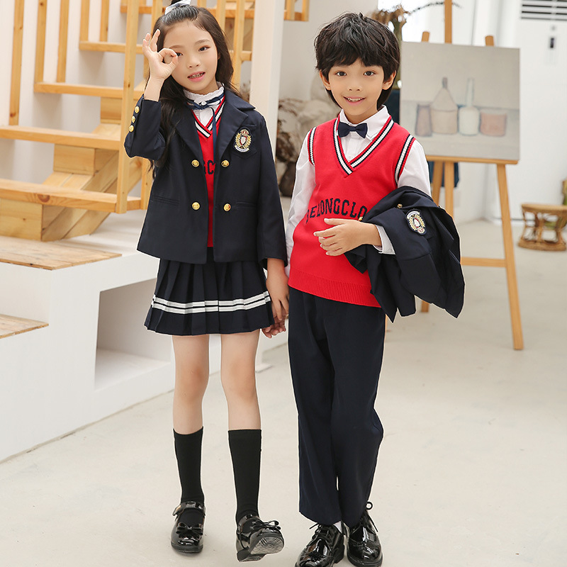 Young STUDENT'S School Uniform Spring And Autumn England College Style Children Suit Kindergarten Suit