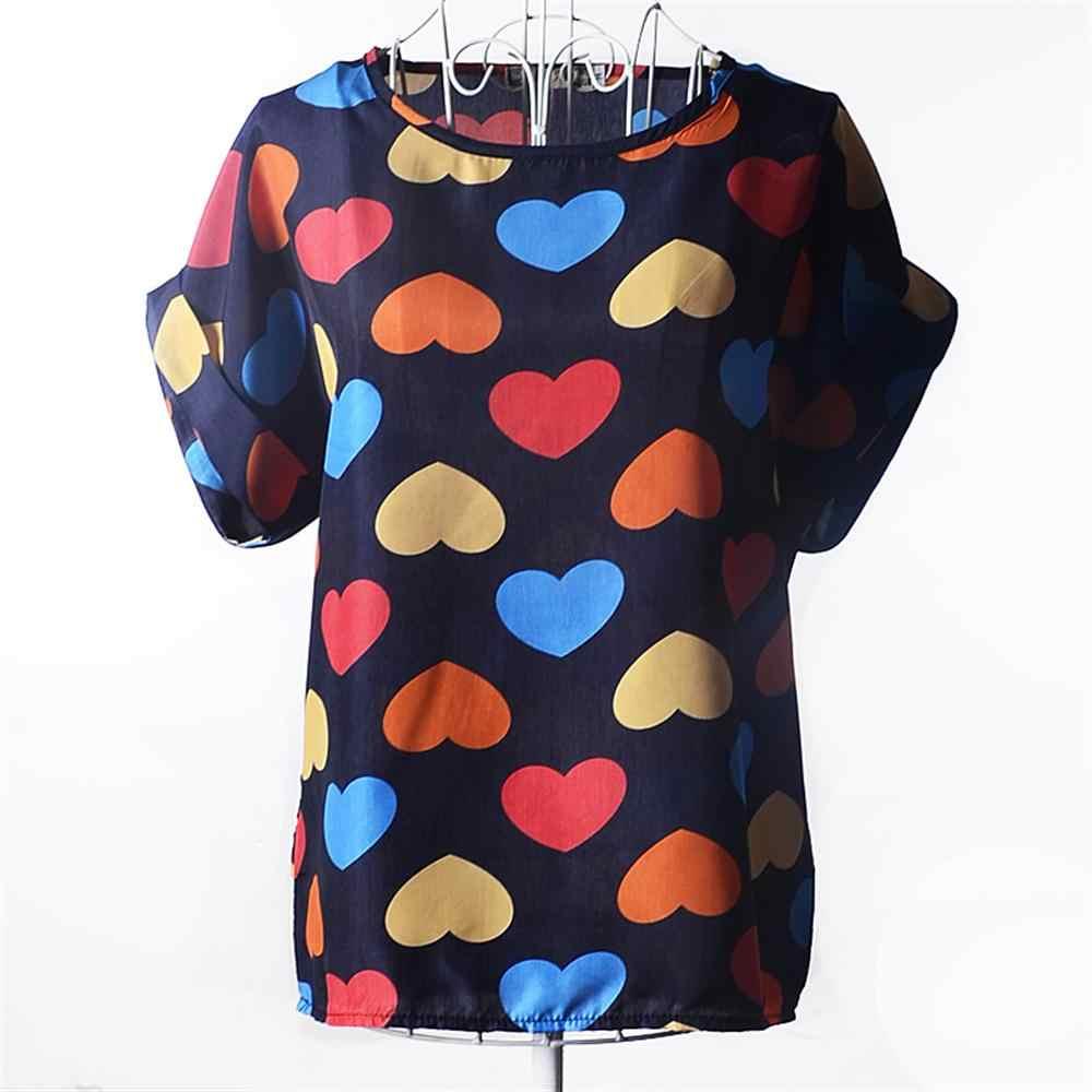 Women Floral Chiffon T shirt Harajuku Printed TShirt Women Plus Size t-shirt Ladies Tops O-Neck Chiffon Tee shirt Short Sleeve