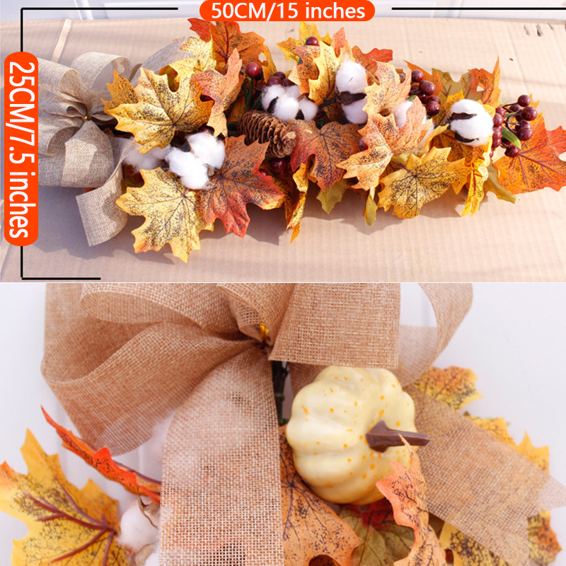 Silk Autumn Wreath Christmas Decoration Thanksgiving Rattan Material Garland Window Restaurant Home Decoration Fall Wreath Door-4