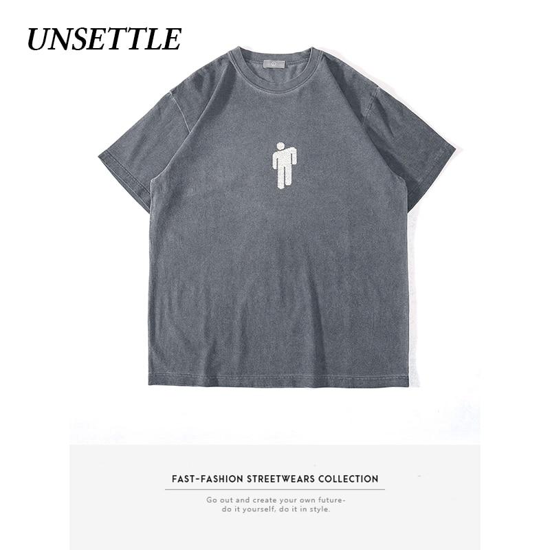 UNSETTLE 2020SS Heavy Weight Fabric Washed Basic Fashion T-shirts Men Print Streetwear Tshirt Man Short Sleeve Tees Oversize