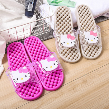 Hello Kitty indoor bathroom bath cartoon cute animal massage antiskid home new water leakage antiskid slippers female home bohemian floral antiskid bath rug