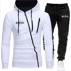 Autumn And Winter Men's Boss Solid Color Series Outdoor Sports Fashion Sweater Zipper Hoodie + Casual Pants Two-Piece Track Suit