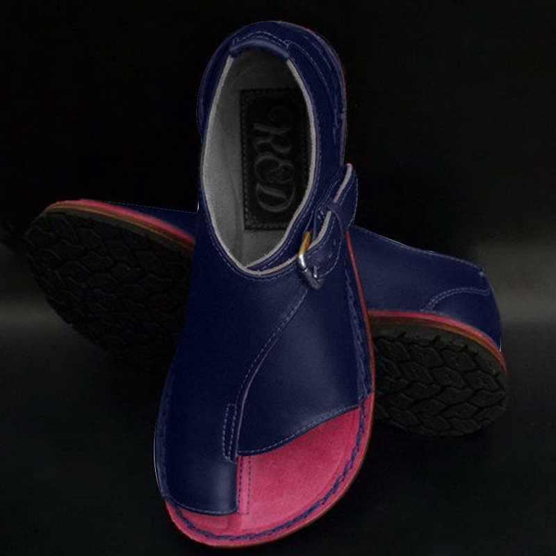 HEFLASHOR kadın ayakkabı yumuşak hakiki deri kadın sandalet kadın düz sandalet kadın rahat yaz plaj ayakkabısı kadın toka
