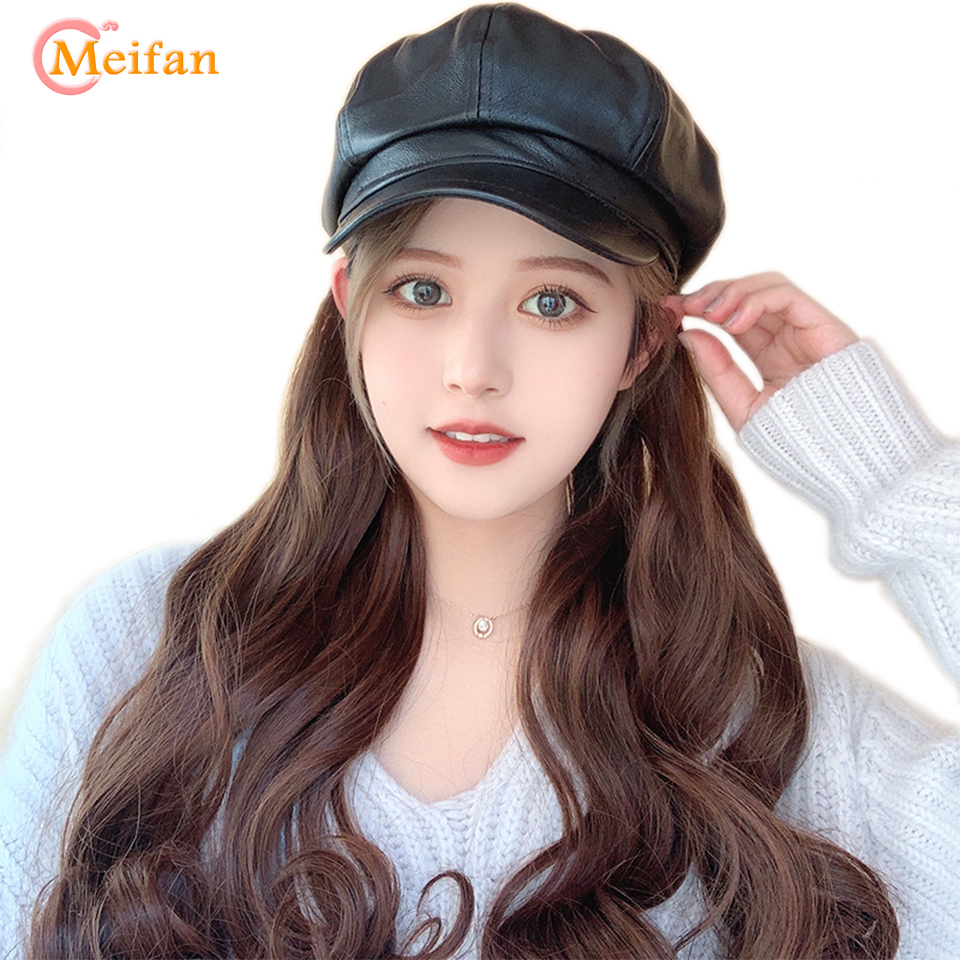 MEIFAN Long Curly Synthetic Wig With Hat Retro PU Octagonal Cap Seamlessly Connected Hat Wig For Girl Cosplay Hair Styling