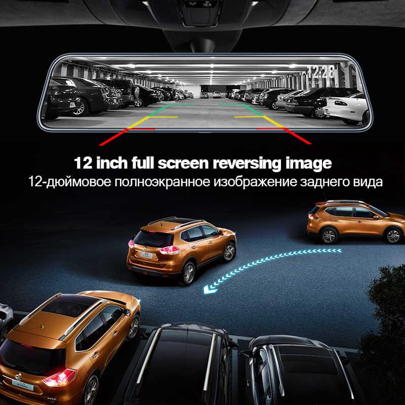 Dual 1080P Dash Cam 4G 12 Inch Stream Media Android Cermin Kaca Spion Mobil Mobil DVR Adas Super malam Sebelum dan Setelah FHD