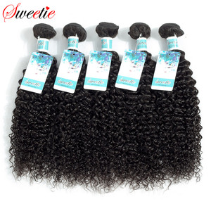 Image 1 - Sweetie Indian Hair Afro Kinky Curly Hair Extensions 100% Human Hair Weave Bundles Natural Color 3/4 Pieces 100G Non Remy