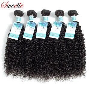 Image 1 - Sweetie Indian Hair Afro Kinky Krullend Hair Extensions 100% Menselijk Haar Weave Bundels Natuurlijke Kleur 3/4 Stuks 100G Non  Remy
