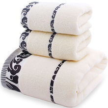 Cotton Towel Absorbent Selling Soft 140x70cm 35x75cm Three-Piece-Set