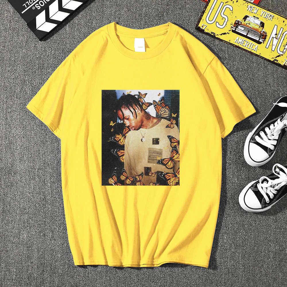 트래비스 스콧 나비 남자 T 셔츠 효과 랩 음악 커버 남자 고품질 여름 얼굴 소재 ManTops T-셔츠 플러스 크기