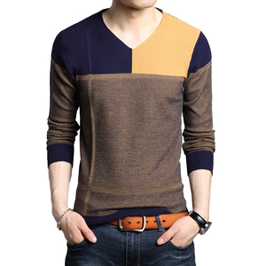 BROWON Men Autumn Sweater Long Sleeve Sweater Male Color Match Casual Splicing Design Slim Sweaters Outwear Hot Sale