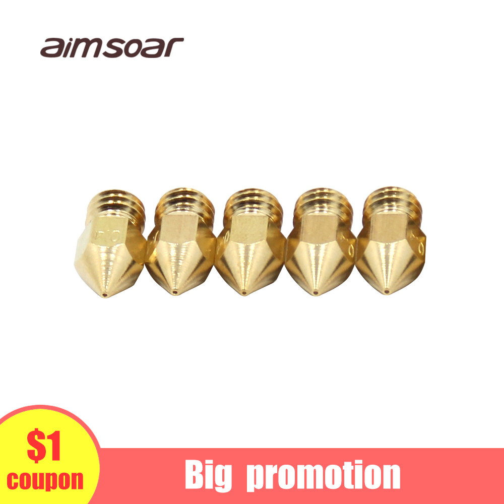 MK8 Nozzle Brass Copper Nozzle 3d Printer Parts Nozzle 0.2mm 0.3mm 0.4mm 0.5mm Nozzle For 1.75mm Filament Aimsoar