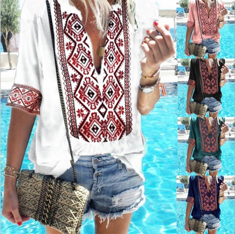 2019 Bohov Neck Short Sleeve Print Floral Summer T Shirts Women Ethnic Style Loose Casual Tops