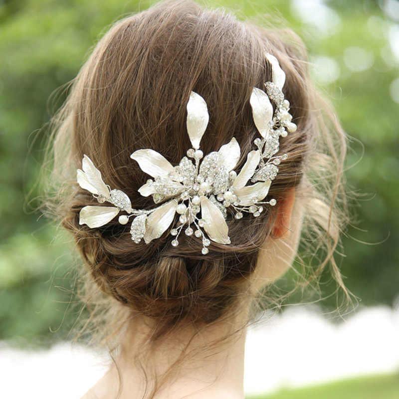 Gaya Campuran Headpiece Rambut Klip Sisir Rhinestone Pearl Pernikahan Bridal Rambut Aksesoris Perhiasan