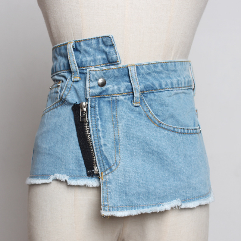 2020 New Design Fashion Trendy Corset Belt Denim Asymmetrical Raw Edge Waistband Female Casual Zipper Belts For Women Tide ZK427