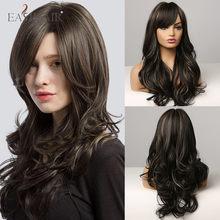 EASIHAIR-pelucas de pelo largo ondulado para mujeres negras con flequillo postizo en la parte lateral, fibra resistente al calor