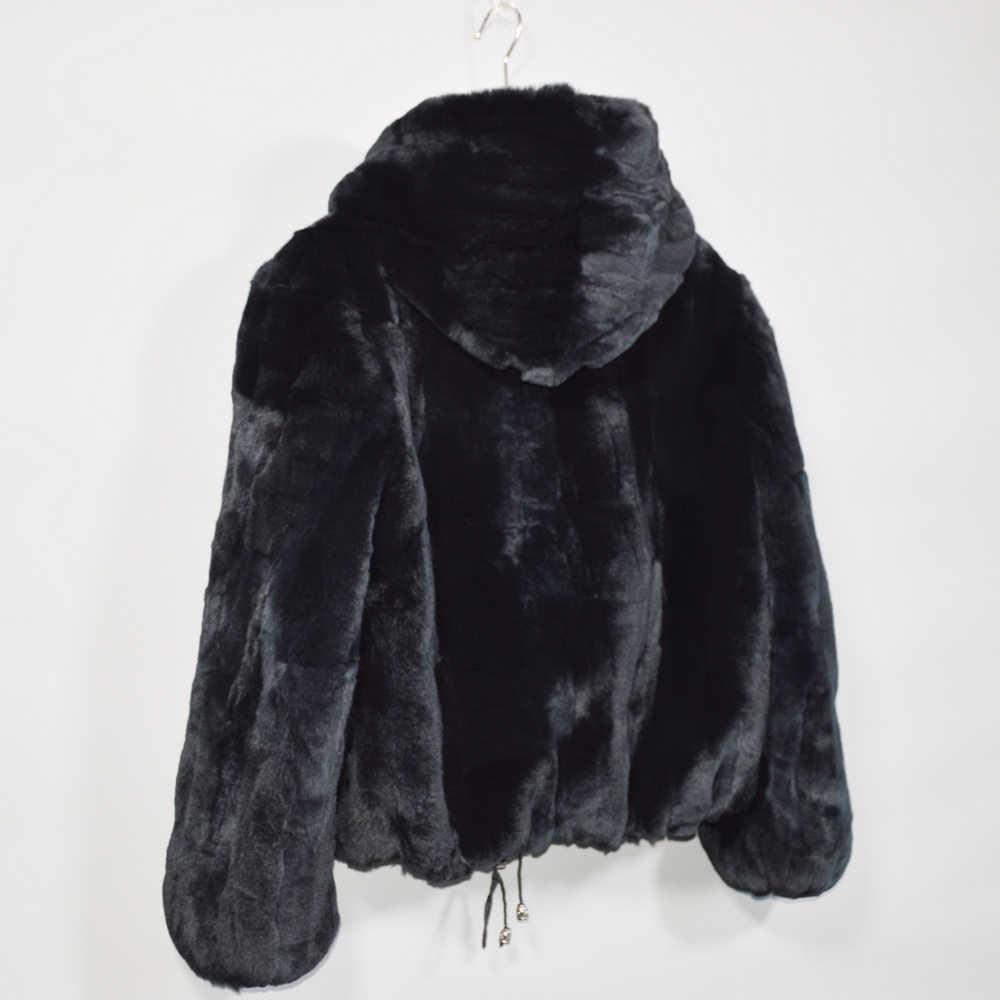 2019 yeni kadın kış sıcak yumuşak kaliteli gerçek Rex tavşan kürk ceket Rex tavşan kürk kısa ceket gerçek Rex tavşan kürk kapşonlu palto