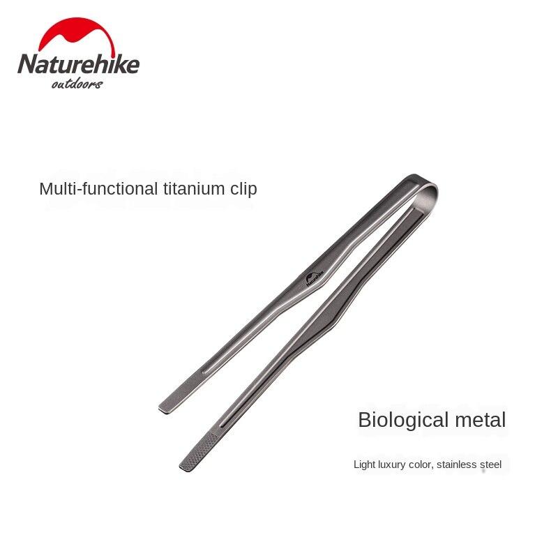 Naturehike Multi-Function Titanium Clip Outdoor Picnic BBQ Clamp High Temperature Resistant Pure Titanium Food Clip