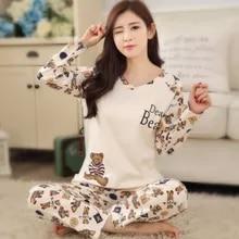 Cotton Pajamas Ladies Cartoon-Tops Long-Trousers Autumn Women with Comfortable