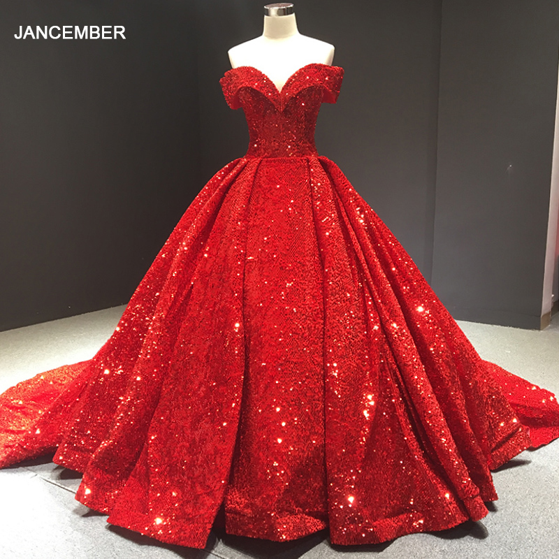 J66742 Jancember Sequin Shiny Evening Dress Ball Gown Sweetheart Off The Shoulder Lace Up Red Evening Gown 2019 вечернее платье