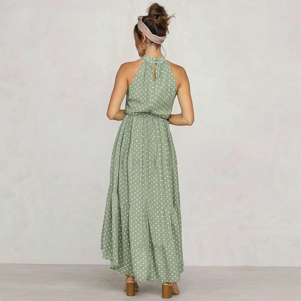 Gợi Cảm Bãi Biển Dài Đầm Nữ Mùa Hè 2020 In Vải Sọc Chấm Nữ Quai Dây Boho Bohemia Đầm Nữ Sundress vestidos