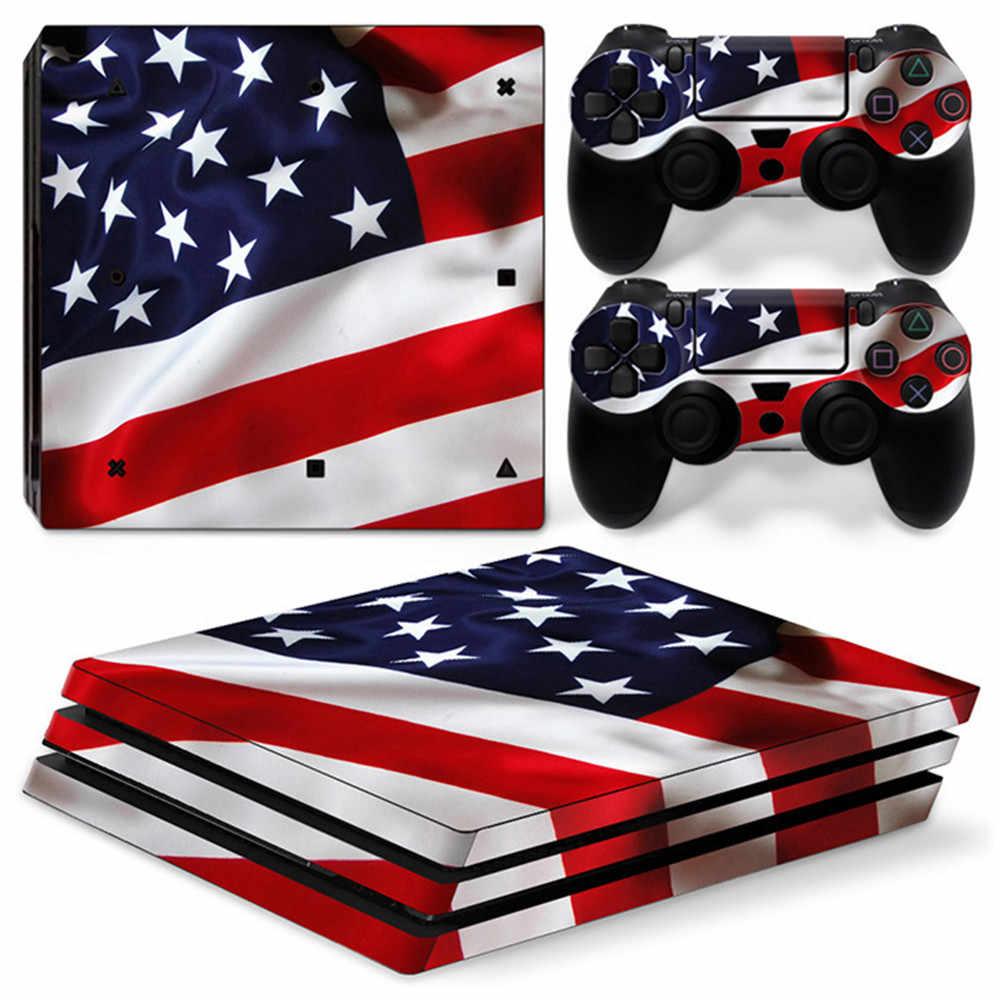 PS4 ためプロ火災スキンデカールラップため PS4 プロプレイステーション 4 プロコンソール + コントローラステッカースキンステッカー -英国旗米国旗