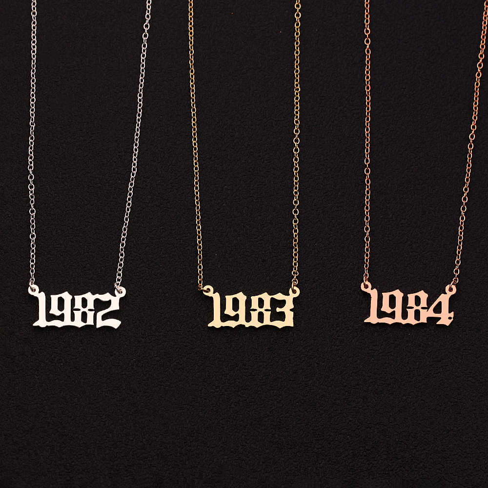 1980-1999-2019 Personalized Year Number Necklaces for Women Custom Year  Birthday Gift from