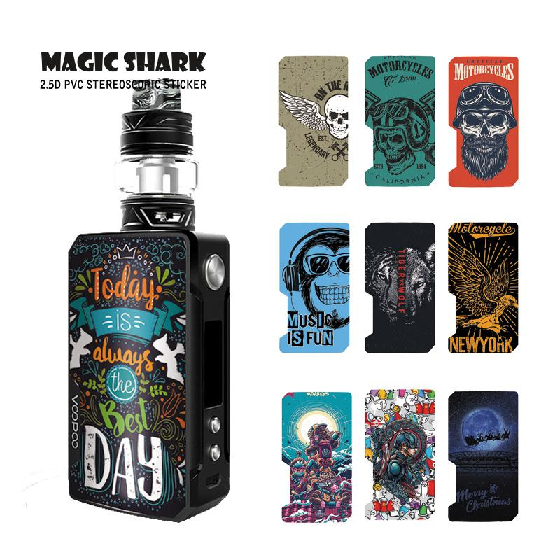 Magic Shark Captain American Tiger Wolf Motorcycle Today Is The Best Day PVC Case Sticker Skin For Voopoo Drag 2 E Cigar