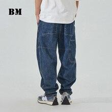 2021 High Quality Fashionable Hip Hop Straight Jeans Men Clothing Japanese Streetwear Denim Cargo Pants Harajuku Trousers Male
